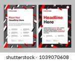 geometry red brochure layout... | Shutterstock .eps vector #1039070608