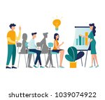 vector illustration. meetings... | Shutterstock .eps vector #1039074922