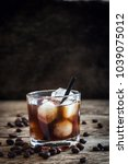 black russian cocktail with... | Shutterstock . vector #1039075012