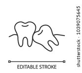 crooked teeth linear icon. thin ... | Shutterstock .eps vector #1039075645