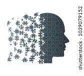 dark puzzle piece silhouette... | Shutterstock .eps vector #1039079152