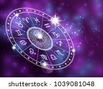 horoscope circle on shiny... | Shutterstock .eps vector #1039081048