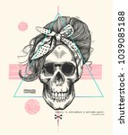 women's skeleton skull in pop... | Shutterstock .eps vector #1039085188