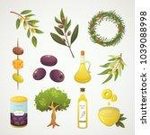 set olives fruit. olive oil... | Shutterstock .eps vector #1039088998