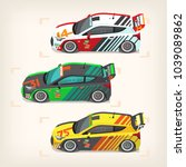 set of colorful fast motor... | Shutterstock .eps vector #1039089862