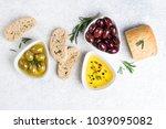 mediterranean snacks. ciabatta...   Shutterstock . vector #1039095082
