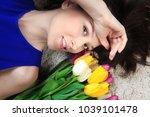 happy spring woman. brunette... | Shutterstock . vector #1039101478
