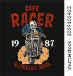 vector skeleton cafe racer... | Shutterstock .eps vector #1039103422