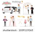 set of wedding pictures  bride... | Shutterstock .eps vector #1039119265
