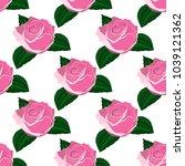 seamless wallpaper pink roses...   Shutterstock . vector #1039121362