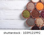 mix of cereals and beans in... | Shutterstock . vector #1039121992