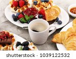 delicious breakfast with fresh... | Shutterstock . vector #1039122532