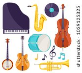 set of musical instruments.... | Shutterstock .eps vector #1039125325