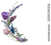 Stock photo watercolor spring feather wreath hand painted border with lavender pansies flower willow tulip 1039130326