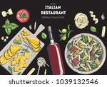 italian cuisine top view frame. ... | Shutterstock .eps vector #1039132546