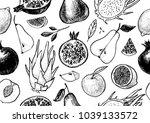 healthy fruit hand drawn... | Shutterstock .eps vector #1039133572