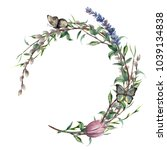 watercolor spring wreath with... | Shutterstock . vector #1039134838