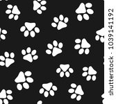 seamless pattern with paw... | Shutterstock .eps vector #1039141192