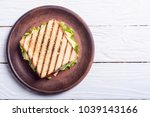 club sandwich with tomatoes  ... | Shutterstock . vector #1039143166