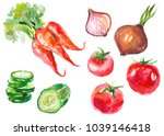 watercolor painted collection... | Shutterstock .eps vector #1039146418
