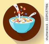 vector breakfast cereal in bowl ... | Shutterstock .eps vector #1039157986