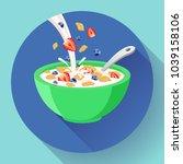 vector breakfast cereal in bowl ... | Shutterstock .eps vector #1039158106