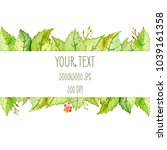 watercolor frame with green... | Shutterstock . vector #1039161358