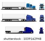 realistic trucks set. front... | Shutterstock .eps vector #1039162948