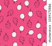 tropical dragon fruit vector... | Shutterstock .eps vector #1039170886