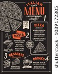 pizza restaurant menu. vector... | Shutterstock .eps vector #1039172305