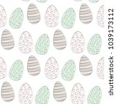 seamless pattern with easter... | Shutterstock .eps vector #1039173112