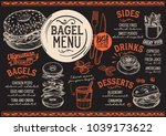bagels restaurant menu. vector... | Shutterstock .eps vector #1039173622