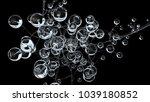 3d molecules or atoms on black... | Shutterstock . vector #1039180852