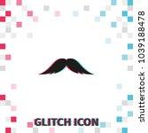 mustache  glitch effect vector...