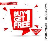 buy 1 get 1 free  sale speech... | Shutterstock .eps vector #1039189996