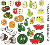 funny fruit elements set ... | Shutterstock .eps vector #1039199092