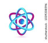 3d atom isolated on white... | Shutterstock .eps vector #1039208596