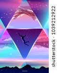 surreal vector poster.... | Shutterstock .eps vector #1039212922