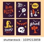collection of halloween flat... | Shutterstock . vector #1039213858