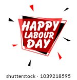 happy labour day  sign with red ... | Shutterstock .eps vector #1039218595