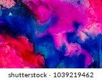 handmade watercolor with blue ...   Shutterstock . vector #1039219462