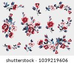 rose flower embroidery patch ... | Shutterstock .eps vector #1039219606