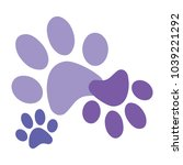 purple paws print vector | Shutterstock .eps vector #1039221292