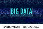 binary code  blue digits on the ... | Shutterstock .eps vector #1039223062