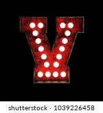 letter v. broadway style light... | Shutterstock . vector #1039226458