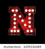 letter n. broadway style light... | Shutterstock . vector #1039226485