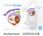 sweet tooth cat. print on t... | Shutterstock .eps vector #1039232158
