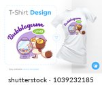 sweet tooth cat. print on t... | Shutterstock .eps vector #1039232185