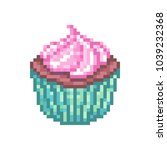 chocolate cupcake with pink... | Shutterstock .eps vector #1039232368