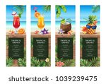 tropical hawaiian cocktail menu.... | Shutterstock .eps vector #1039239475